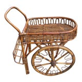 Image of French Riviera Rattan Bar Cart From the 1950s For Sale