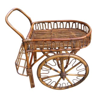 French Riviera Rattan Bar Cart From the 1950s For Sale