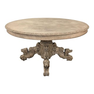 19th Century French Renaissance Stripped Oak Center Table With Hunting Dogs For Sale