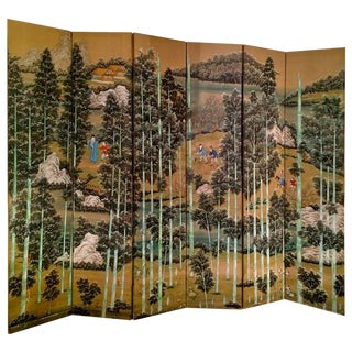 Large Chinese Painted Screen For Sale
