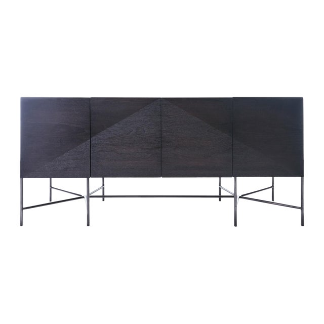 Web Series Walnut Credenza With Welded Steel Base by Modern Industry Design For Sale