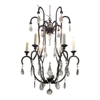Superb Dennis & Leen Bronze & French Crystal Chandelier For Sale