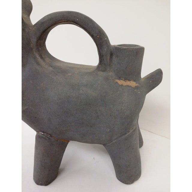 Antique Asian Gray Earthenware Animal Vessel For Sale In Boston - Image 6 of 9