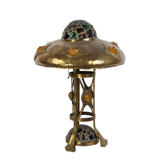 Early 20th Century Mission-Style Brass and Slag Glass Table Lamp For Sale