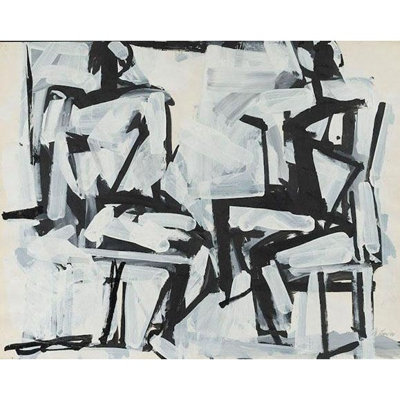 """Two Sitting Figures"" Painting by Michael Loew, 1984 For Sale"