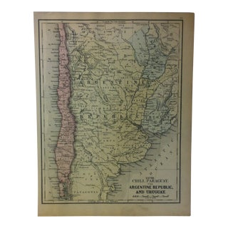 """Antique Mitchell's New School Atlas Map, """"The Argentine Republic"""" by e.h. Butler & Co. Publishers - 1865 For Sale"""