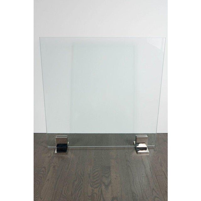 Custom Modern Fire Screen in Polished Nickel and Tempered Glass For Sale - Image 4 of 7
