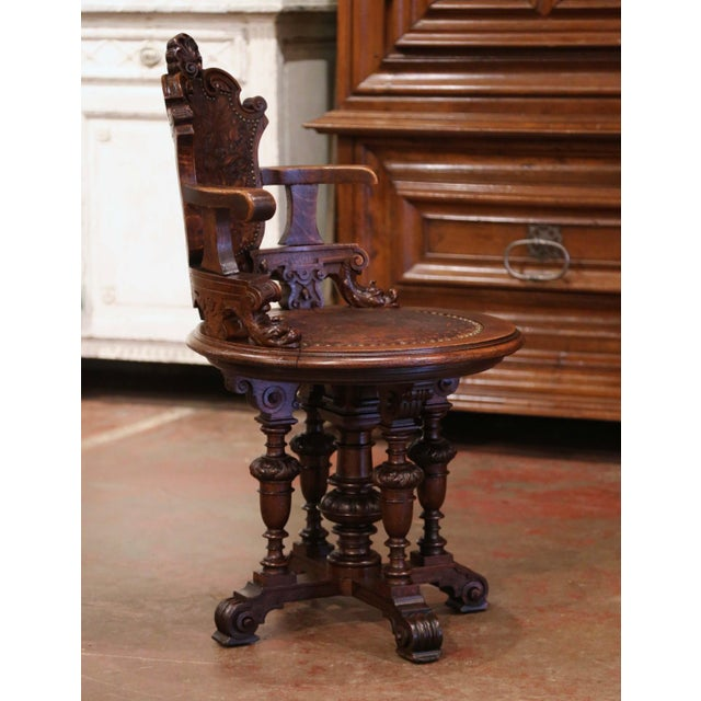 19th Century English Carved Oak and Embossed Leather Lady's Desk Armchair For Sale - Image 9 of 13