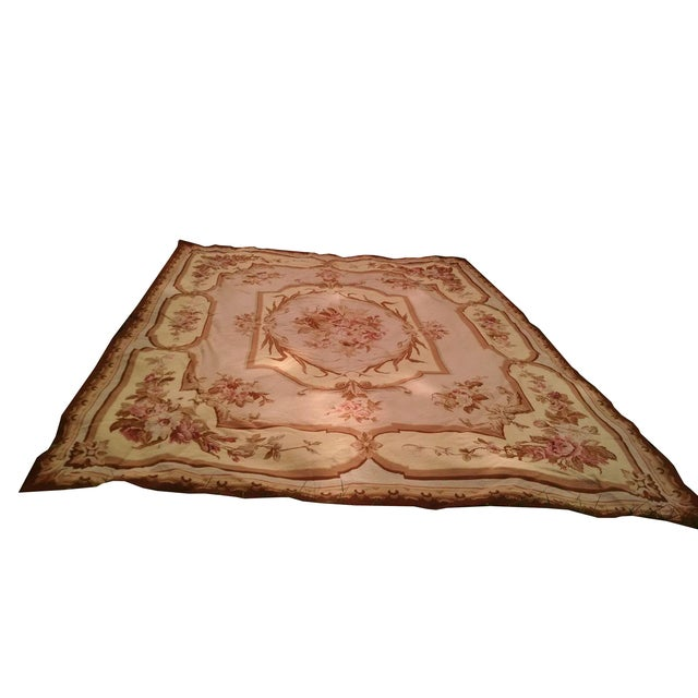 Floral Aubusson Wool Rug - 7′12″ × 9′10″ - Image 1 of 8