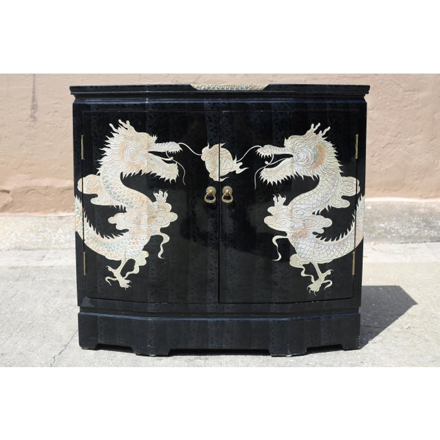 1970s Vintage Chinoiserie Black Lacquered Cabinet With Carved Dragons For Sale - Image 5 of 12