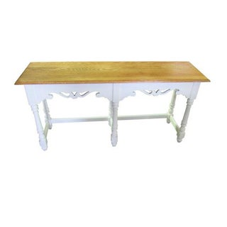 Ethan Allen Farmhouse Console Cottage Painted Sofa Table White and Wood Long Console