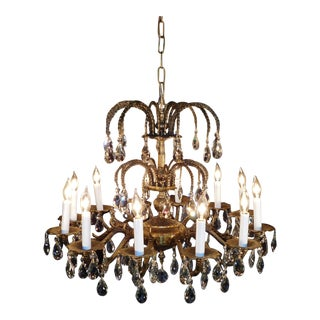 Antique French Brass Cut Lead Crystal Chandelier For Sale