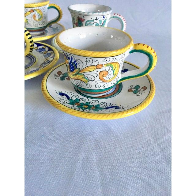 Artistica Artistica Italian Majolica Espresso Cups and Saucers - Set of 9 For Sale - Image 4 of 13