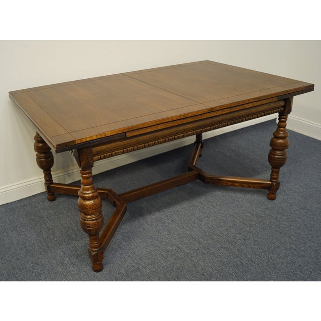 """Gothic Vintage Antique Oak English Revival Gothic Jacobean 84"""" Draw Leaf Dining Table For Sale - Image 3 of 11"""