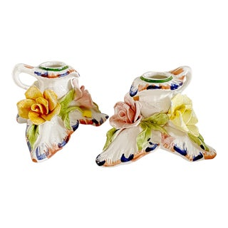 Vintage Bassano Capodimonte Majolica Candle Holders - a Pair For Sale