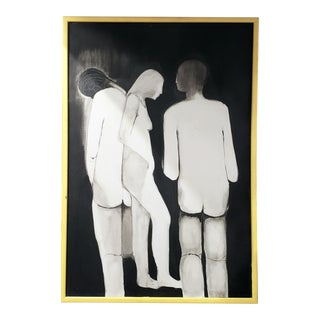 Modern Figurative Black and White Acrylic Painting For Sale