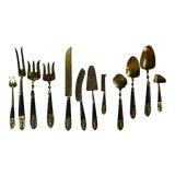 Image of Bronze & Rosewood Serving Flatware - Set of 12 For Sale