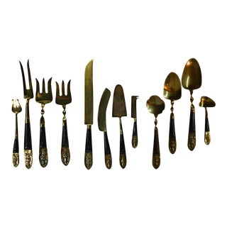 Bronze & Rosewood Serving Flatware - Set of 12 For Sale