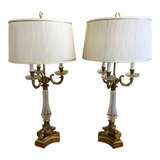 Hollywood Regency Paul Hanson Crystal Glass Bouillotte Lamps - a Pair