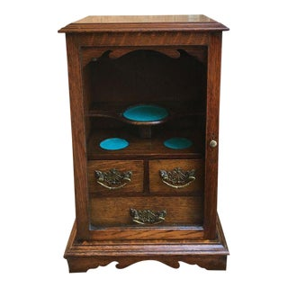 Late 19th Century Antique English Tiger Oak Pipe Smoke Cabinet For Sale