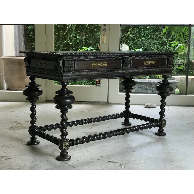 Black 19th C. Antique Portuguese Baroque Style Library Table For Sale - Image 8 of 8