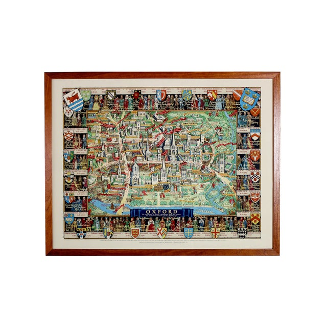 1940's Medieval College Pictorial Map of Oxford University For Sale - Image 4 of 4