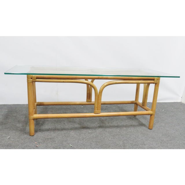Mid-Century Modern Mid Century Modern Rattan Glass Top Coffee Table For Sale - Image 3 of 6