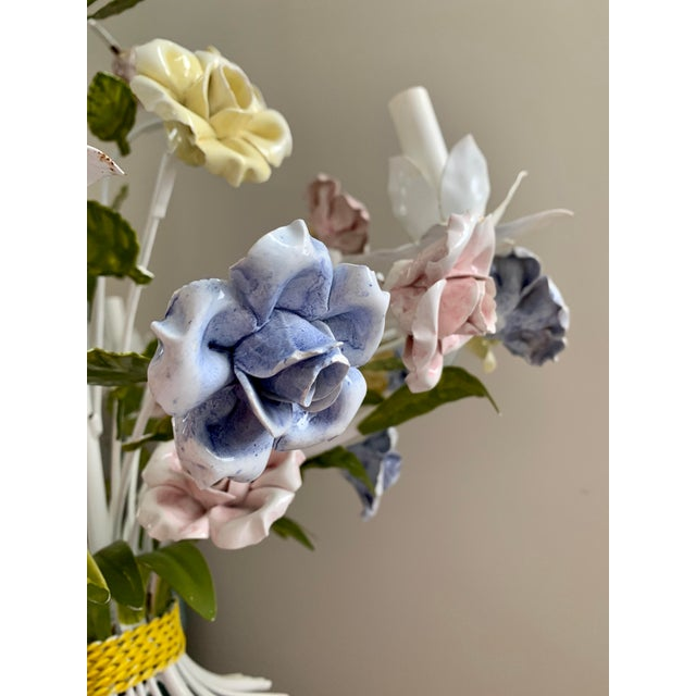 Off-white Vintage Ca 1950s Italian Tole 6 Arms Chandelier & Porcelain Rosebuds Flowers For Sale - Image 8 of 13