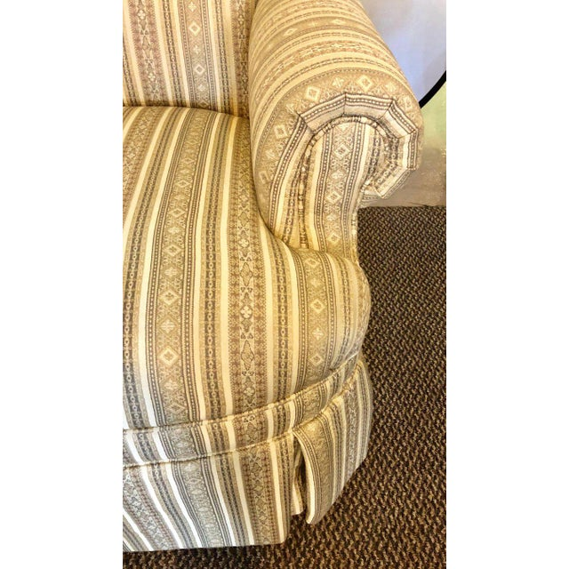 Early 21st Century Pair of Hollywood Regency Style Custom Overstuffed Arm/Lounge Chairs Fine Fabric For Sale - Image 5 of 10