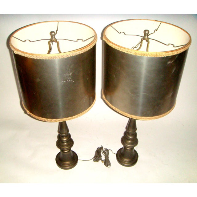 1920's Pewter Table Lamps - A Pair - Image 3 of 7