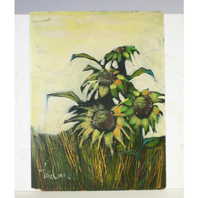 Large mid-century original acrylic painting of sunflowers on board, signed by the artist (unknown).