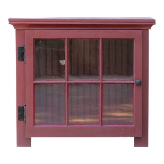 Primitive Red Cabinet W/ Multipane Glass Door For Sale