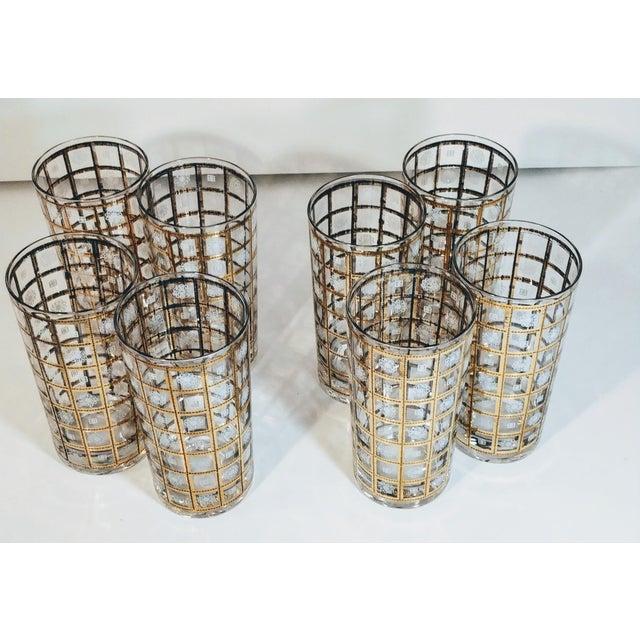 Metal Vintage Gold Highballs Glasses Barware Bar Geometric Floral White - Set 8 For Sale - Image 7 of 8