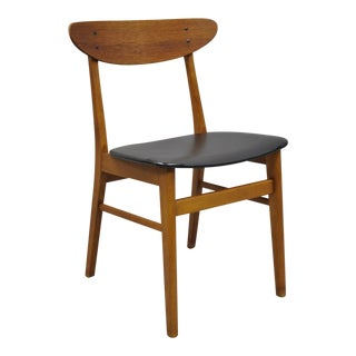 Vintage Mid-Century Danish Modern Teak Curved Back Side Chair Attributed to JL Moller For Sale