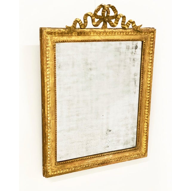 Gold 18th C. Ribbon Crest Mirror For Sale - Image 8 of 8