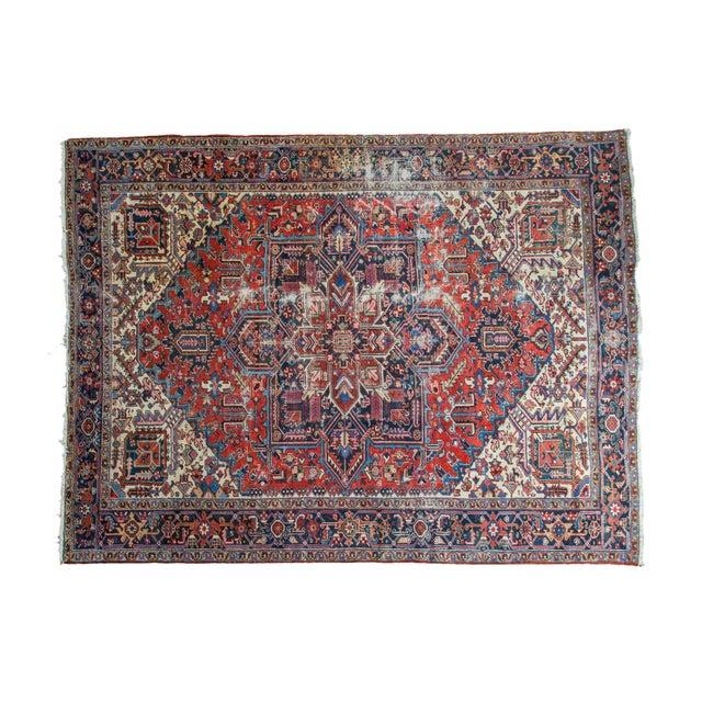 "Vintage Distressed Heriz Carpet - 8'11"" X 11'10"" - Image 1 of 10"