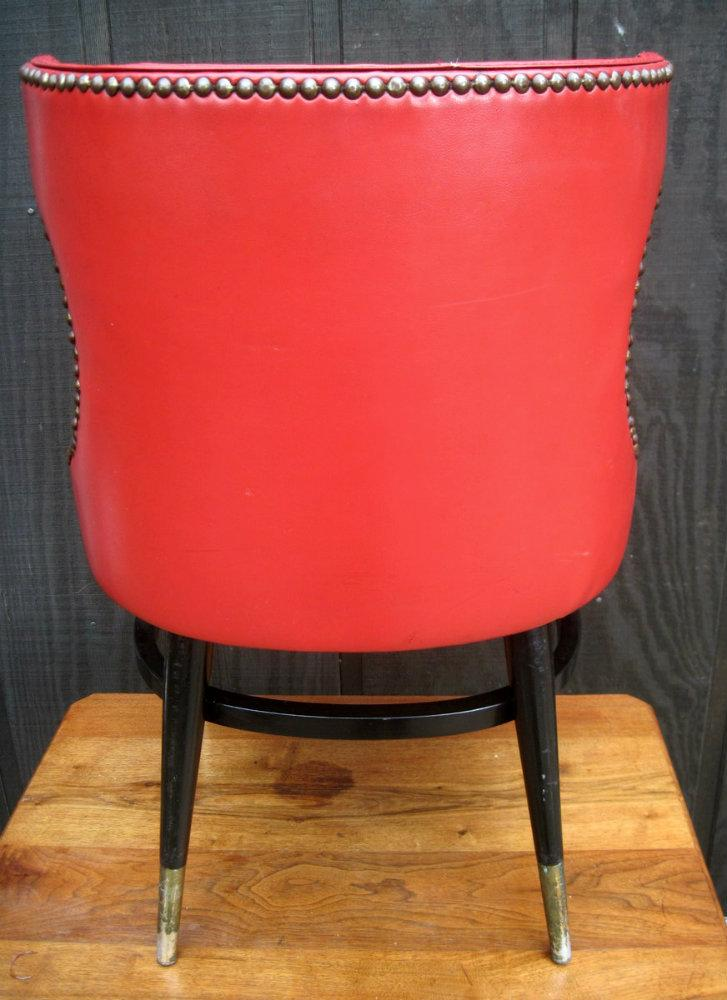 Mid Century Modern Red Wing Back Chairs   Set Of 4   Image 4 Of