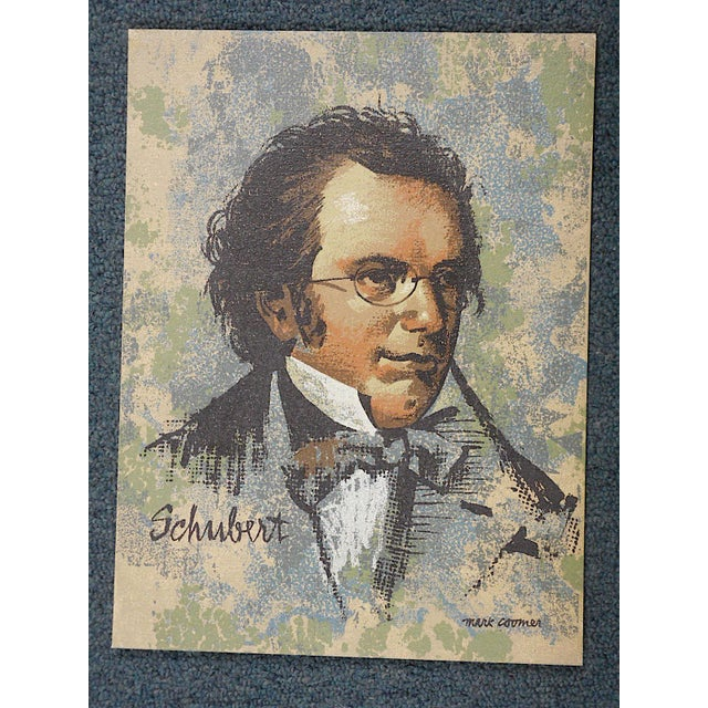 This serigraph on board of the famous music composerLudwig van Beethoven, by listed artist Mark Coomer (1914-2004) ....