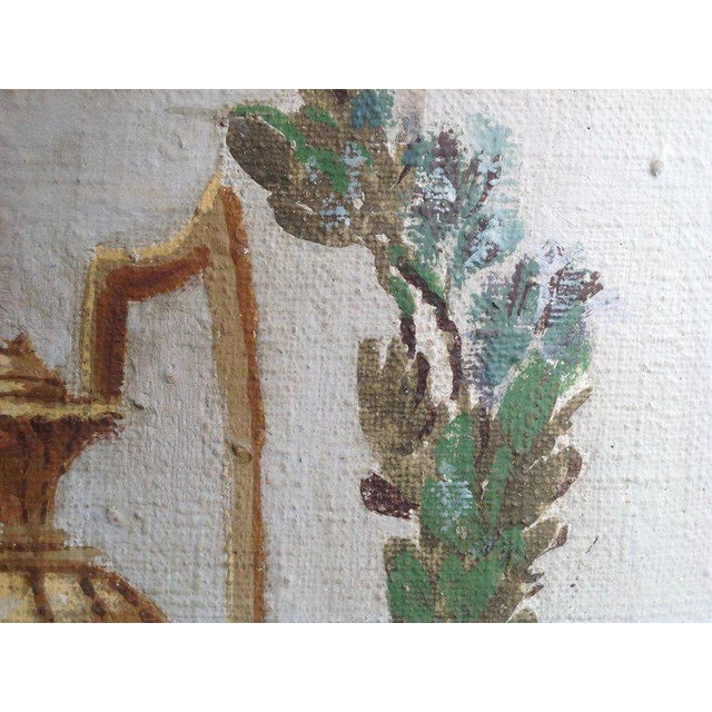 Pair of Antique Painted Canvas Window Panels For Sale - Image 9 of 13