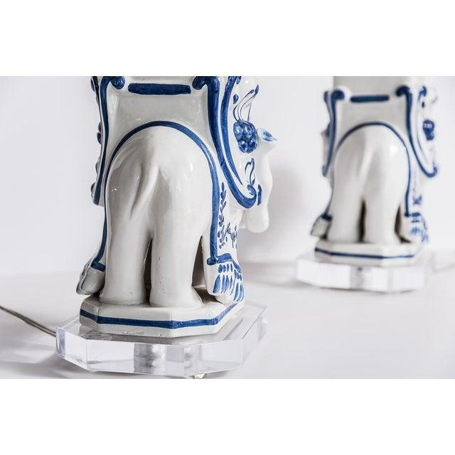 Italian Glazed Terra Cotta Blue & White Elephant Obelisks, A-Pair For Sale - Image 9 of 12