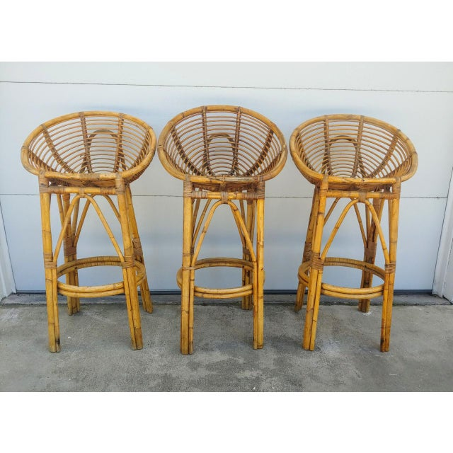 Modern 1950s Albini Style Rattan Bar Stools - Set of 3 For Sale - Image 10 of 10