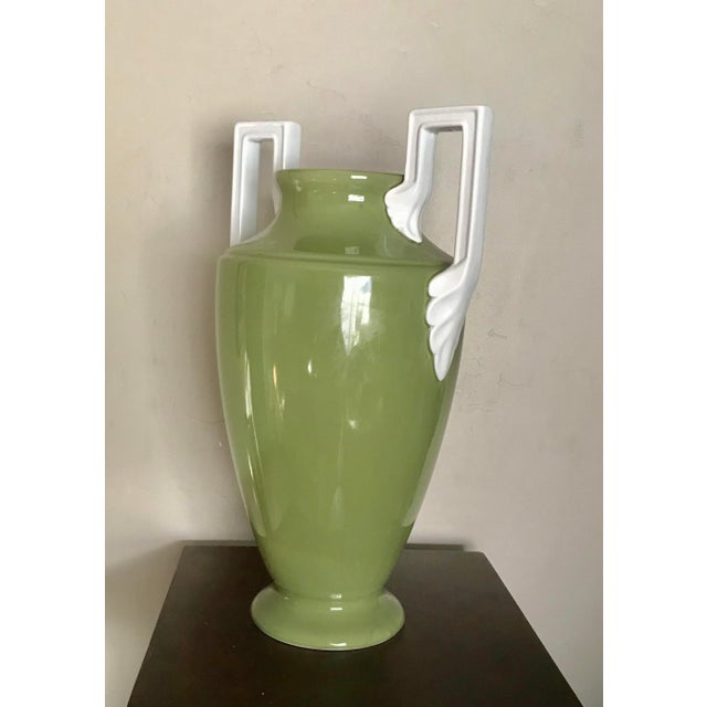 Neoclassical Large Neoclassical Green Ceramic Vase With White Square Handles by Global Views For Sale - Image 3 of 5