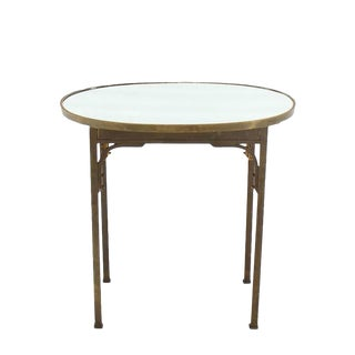 Vintage Mid Century Solid Brass Mirror Top Oval Table For Sale