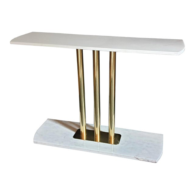 Large Mid-Century Modern White & Gray Carrara Marble & Brass Console Table, Italy For Sale