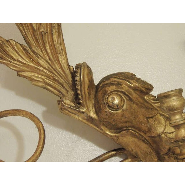 Early 19th C American Dolphin Giltwood Sconces For Sale - Image 4 of 9