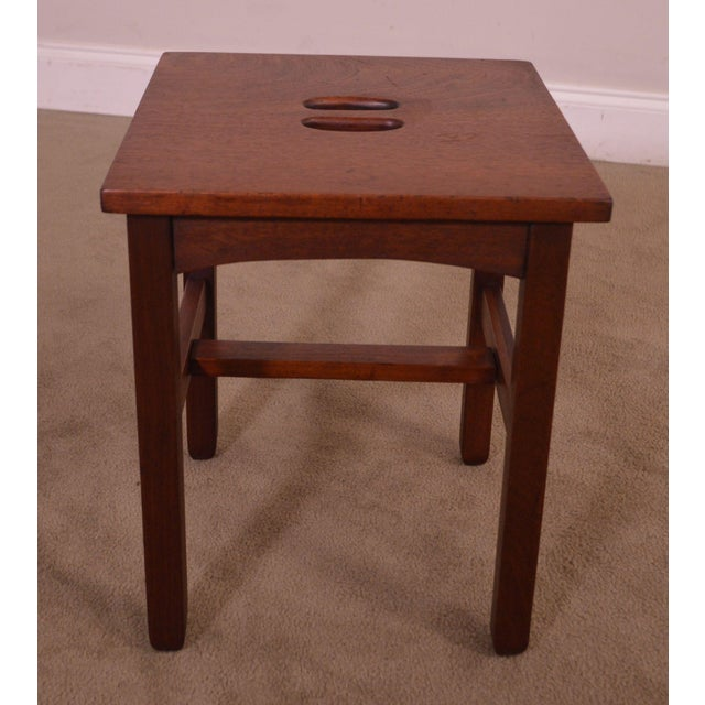 Wood Antique Mission Style Mahogany Taboret Side Table For Sale - Image 7 of 13
