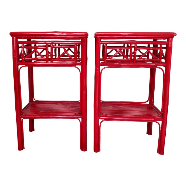Serena and Lily Red Lacquered Side Tables - a Pair For Sale