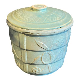 Vintage Mid 20th Century Hand Crafted Celadon Ceramic Lidded Container Vessel For Sale