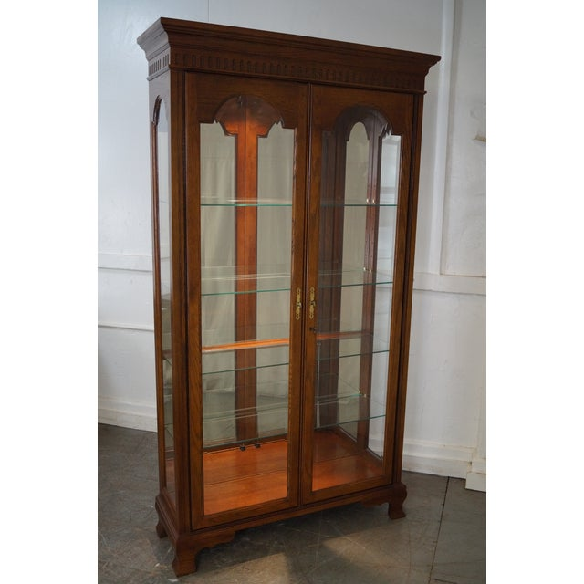 Jasper Traditional Oak Lighted Display Curio Cabinet - Image 7 of 10