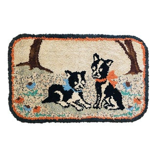 Antique French Bull Dog Hooked Rug Textile Art For Sale